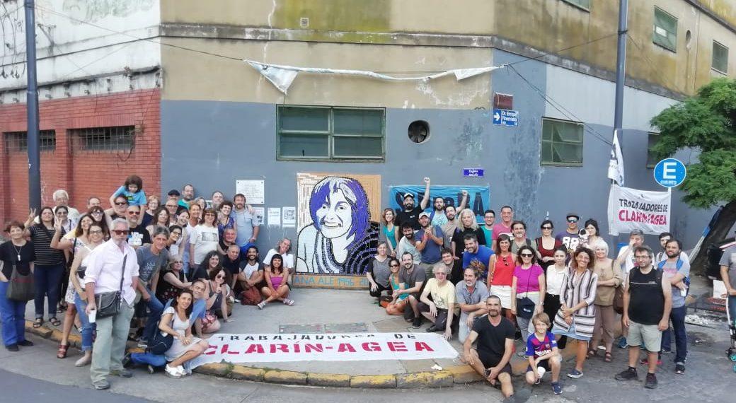 Trabajadorxs y CGI de AGEA Clarín restauraron el mural homenaje a Ana Ale