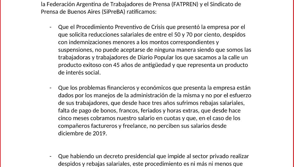 Junto a las y los trabajadores, el SiPreBA dice NO al ajuste en Diario Popular