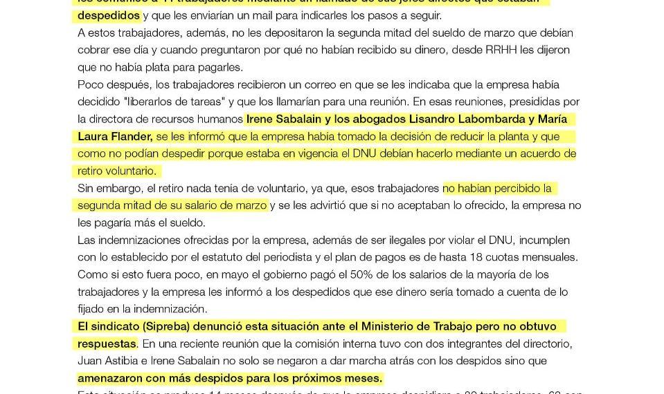 Editorial Atlántida incumple el decreto presidencial y despide en cuarentena