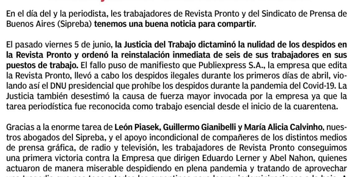 Revista PRONTO: la Justicia del Trabajo dictaminó la nulidad de los despidos