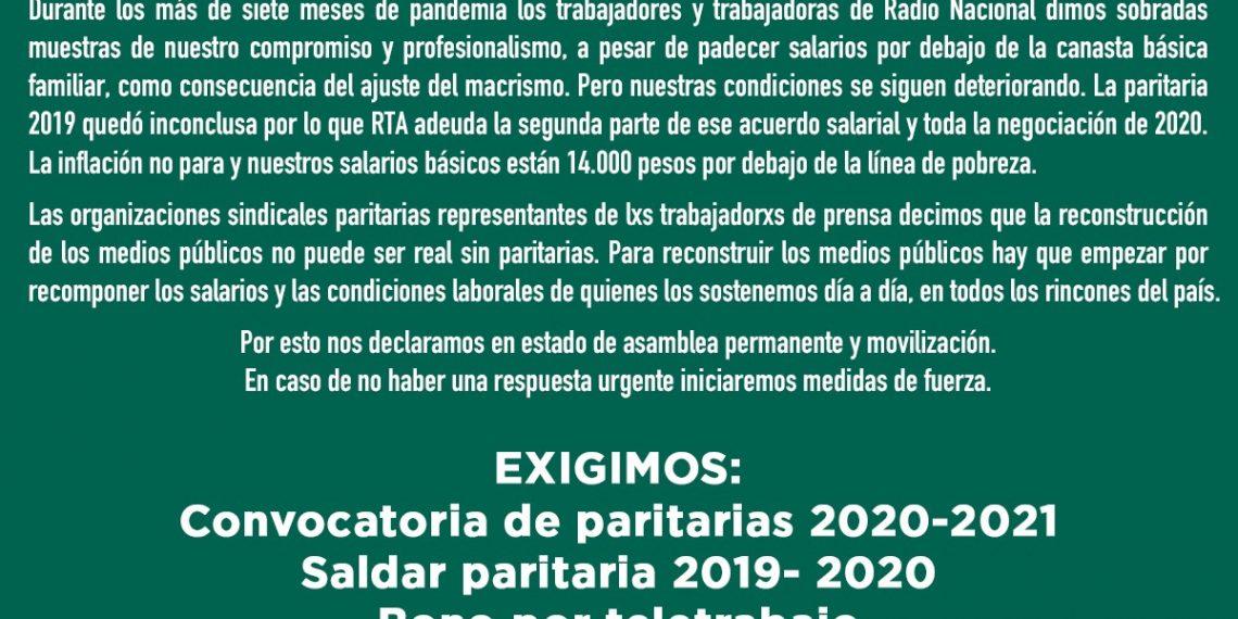 Radio Nacional: exigimos convocatoria a paritarias y recomposición salarial urgente