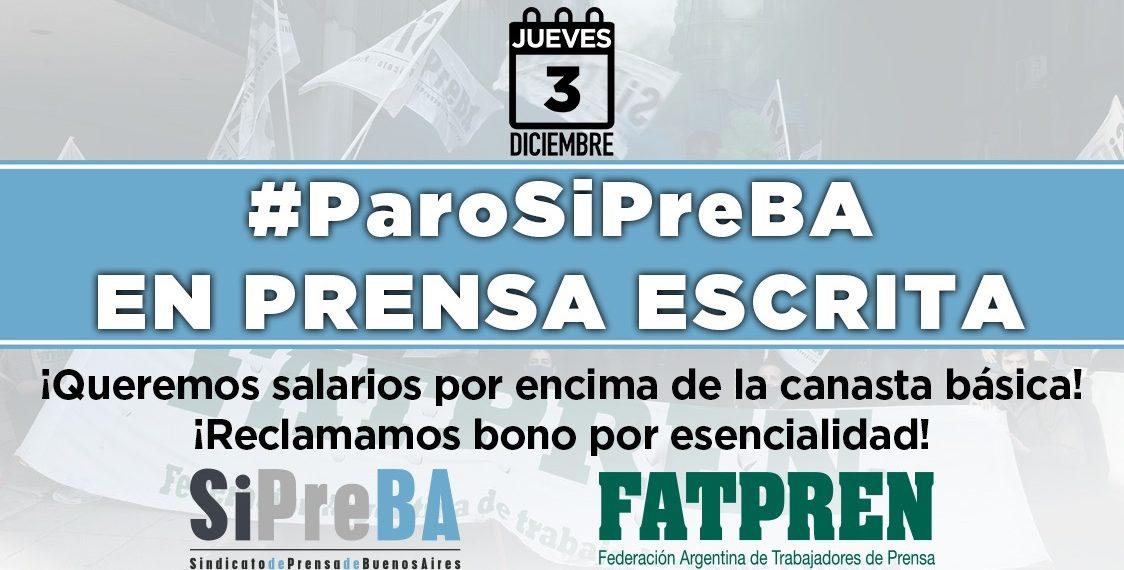 #ParoSiPreBA convocado en prensa escrita para este jueves 3/12