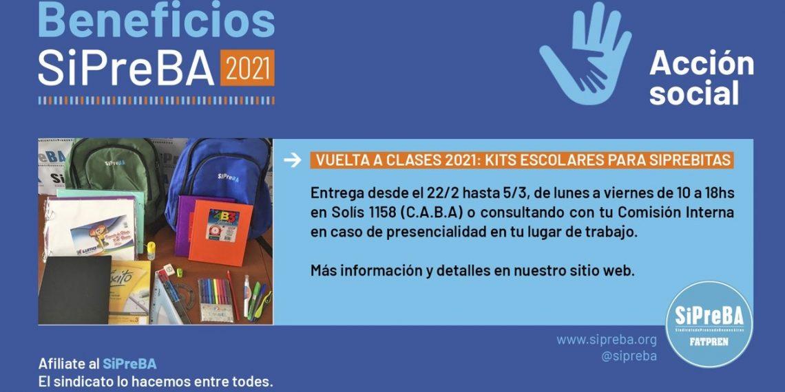 VUELTA A CLASES 2021: KITS ESCOLARES PARA SIPREBITAS