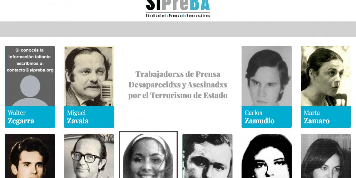 El SiPreBA presenta archivo web sobre trabajadorxs de prensa desaparecidxs y asesinadxs por el terrorismo de estado
